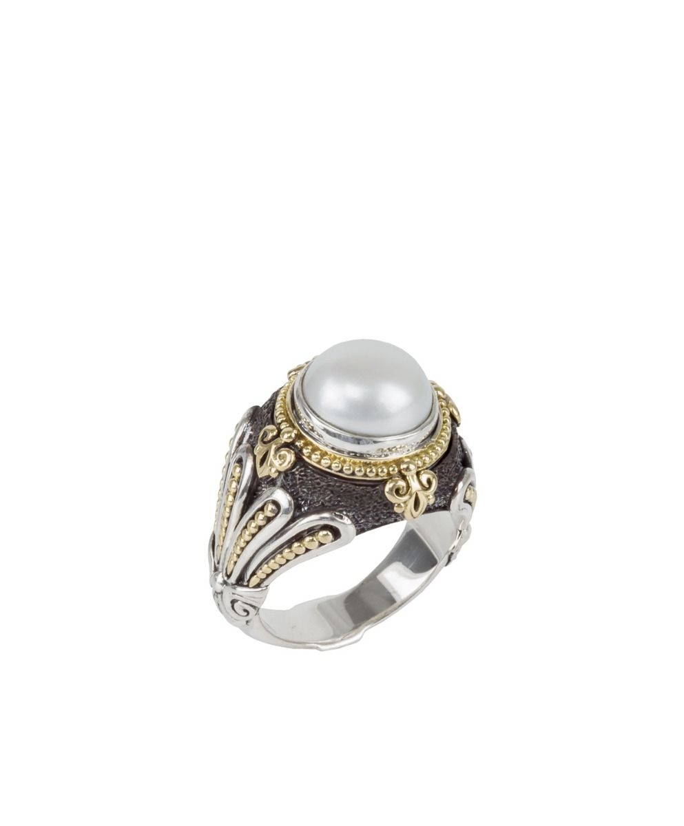 Sterling Silver & 18k Gold Pearl Ring