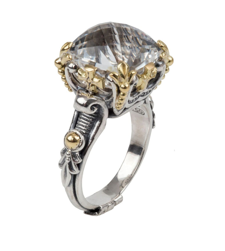Sterling Silver & 18kt Gold Crystal Ring