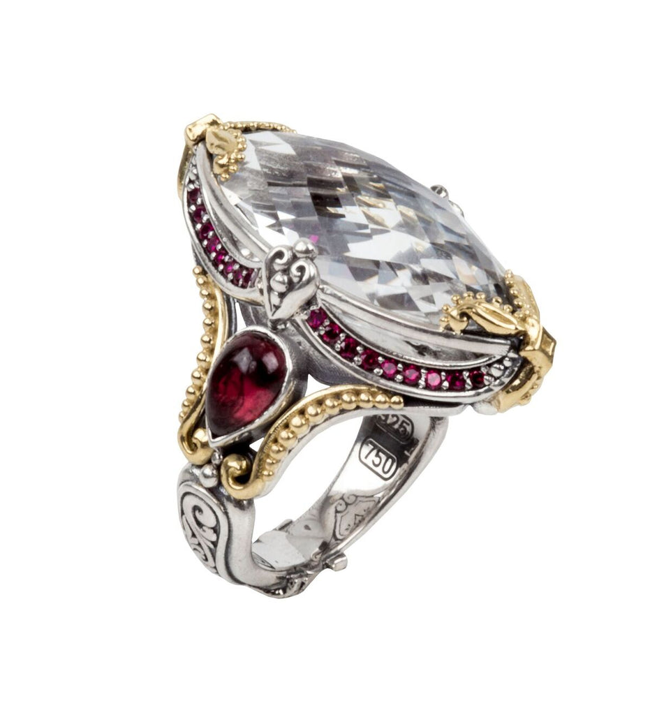 Sterling Silver & 18kt Gold Crystal & Corundum Ring