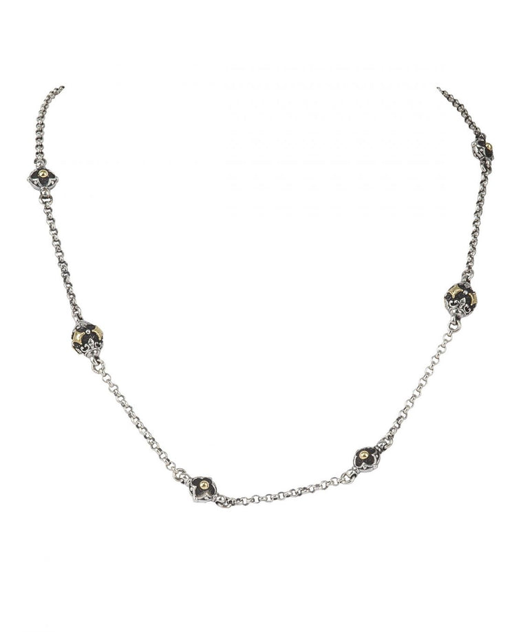 Sterling Silver & 18k Station Necklace