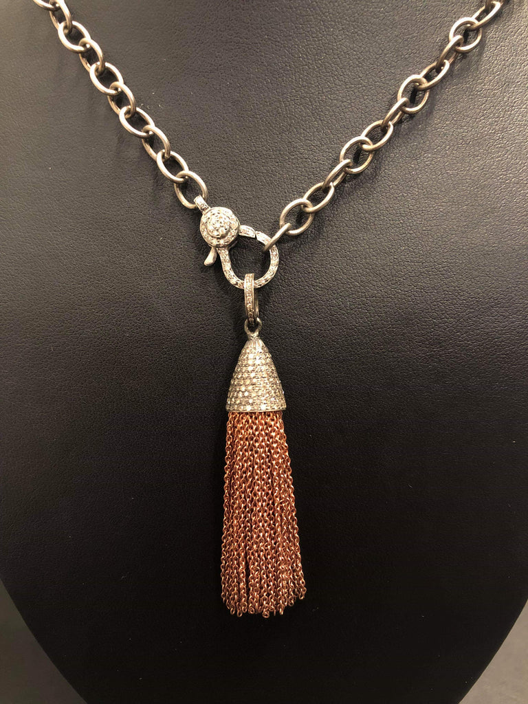 Oxidized Sterling Silver & Rose Gold Diamond Tassel Pendant
