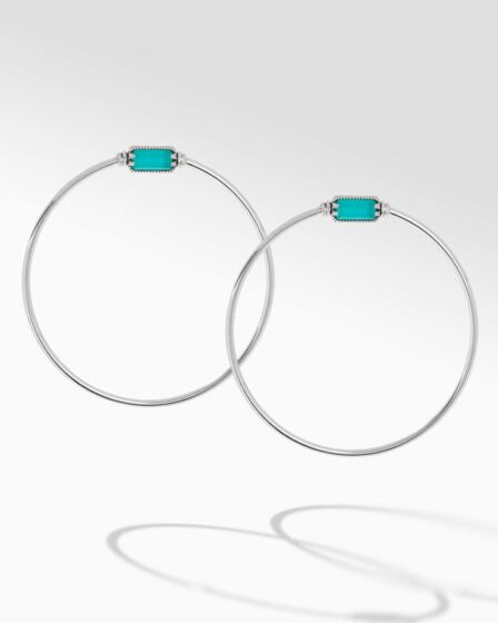 Sterling Silver & 18K Gold Chalcedony Ring Hoop Earrings