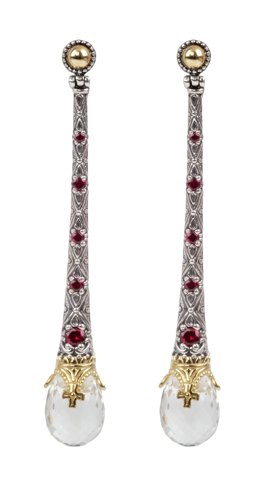 Sterling Silver & 18kt Gold Crystal & Corundum Earrings