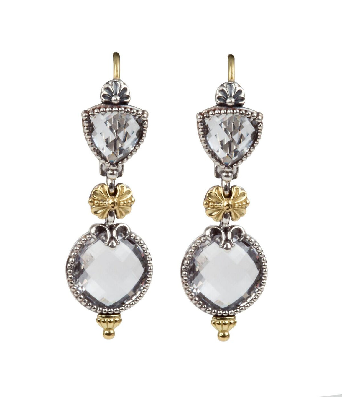 Sterling Silver & 18kt Gold Crystal Earrings