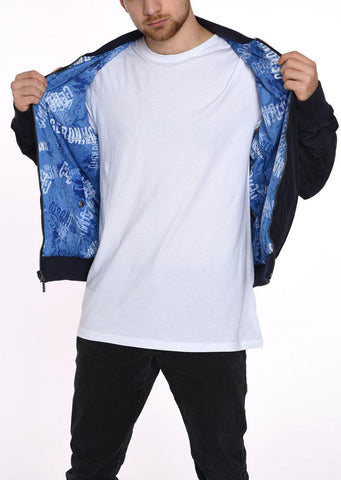 DOUBLE FACE BOMBER JACKET  GERONIMO BLUE TEXTURE