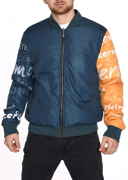 DOUBLE FACE BOMBER JACKET  BLUE INDIAN