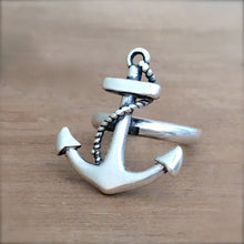 Anchor Silver Ring - size 7