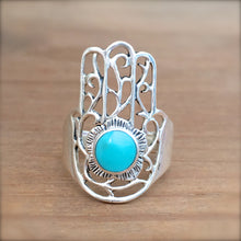 Hamsa Turquoise and Silver Ring - size 7.75