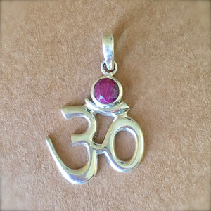 Om Ruby and Silver Pendant
