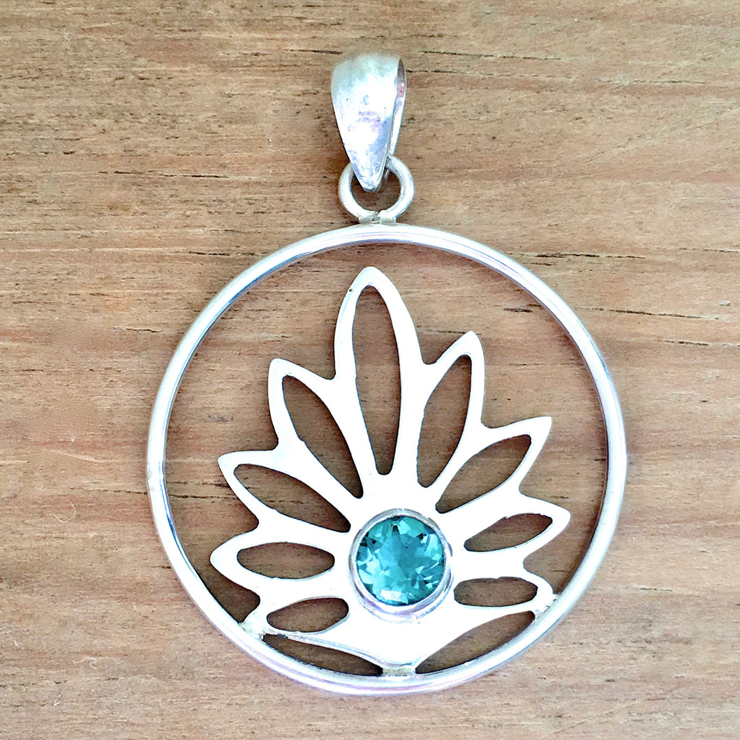 Lotus Green Quartz Pendant