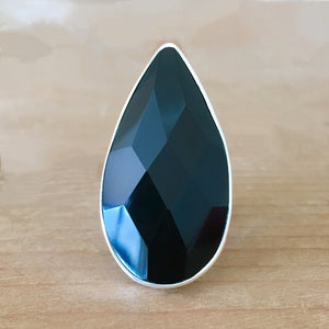 Faceted Onyx and Silver Ring