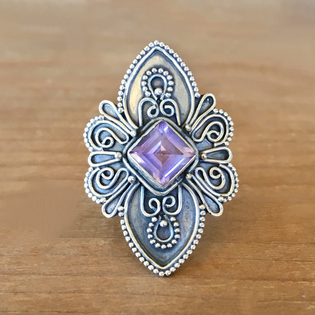 Bondi Amethyst and Silver Ring