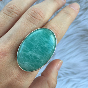 Amazonite and Silver Goddess Ring