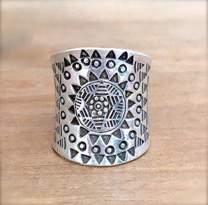 Star Mandala Silver Ring