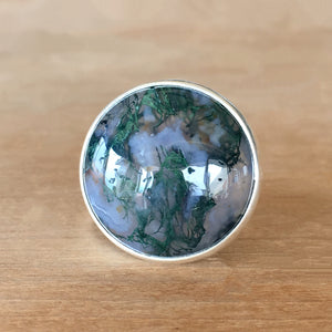 Moss Agate and Silver Ring