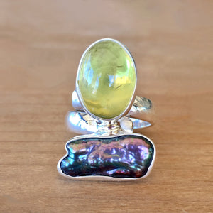 Lemon Quartz and Mother of Pearl Ring