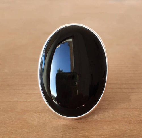 Black Magic Onyx and Silver Ring