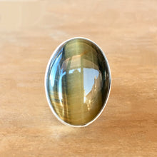 Blue Tigers Eye and Silver Ring