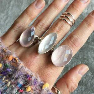Faceted Rose Quartz and Silver Ring