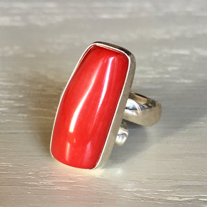 Coral and Silver Ring