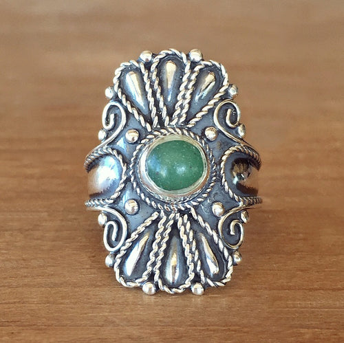 Wild Flower Jade Ring
