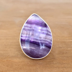 Fluorite and Silver Ring