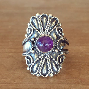 Wild Flower Amethyst Ring - size 8