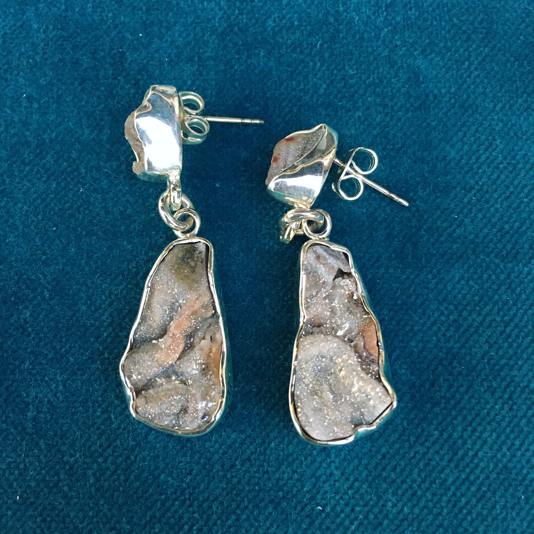 Druzy and Silver Earrings