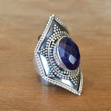 Sapphire and Silver Ring - size 8.5