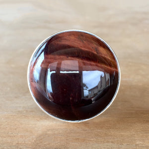 Red Tiger Eye and Silver Ring