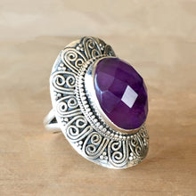 Faceted Amethyst and Silver Ring - size 7