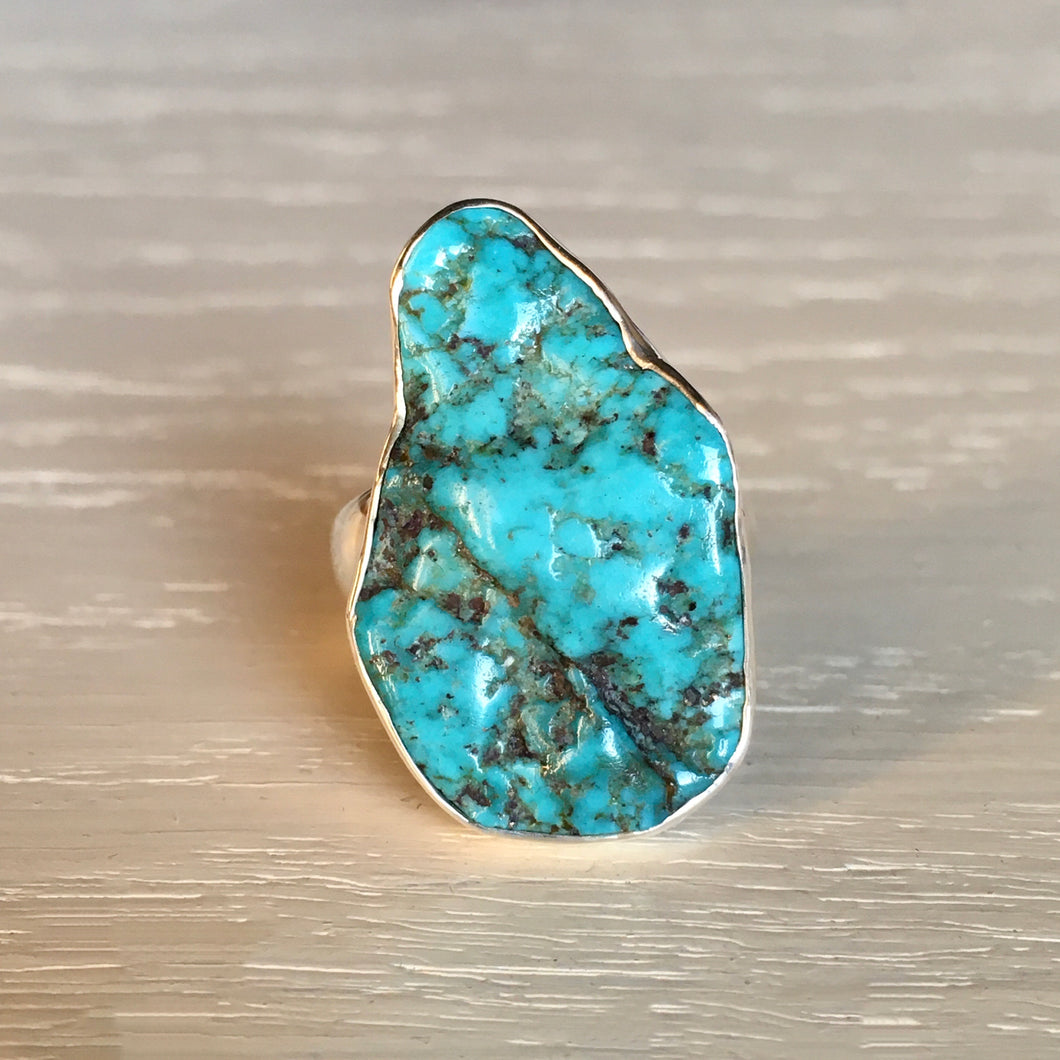 Raw Turquoise and Silver Ring