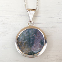 Moss Agate and Silver Pendant