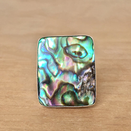 Large Rectangle Abalone and Sterling Silver Ring Handmade One of a Kind Paua Shell Ring