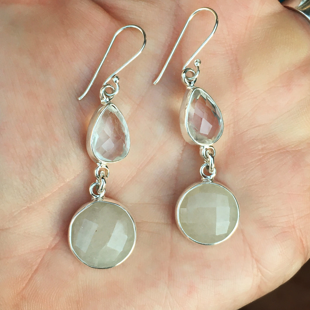 Faceted Quartz and Chalcedony Earrings