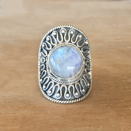 Rainbow Moonstone and Silver Ring - size 7.5
