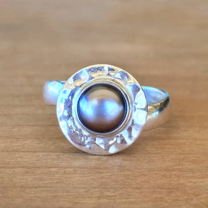 Black Pearl and Silver Ring