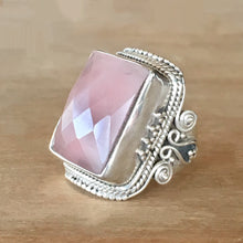 Vintage Rose Quartz and Silver Ring