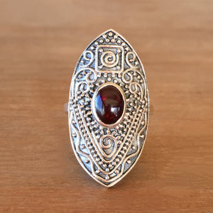 Manifest Garnet and Silver Ring
