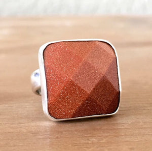 Goldstone & Silver Ring