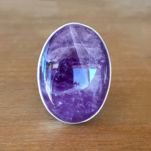 Dark Amethyst and Silver Ring
