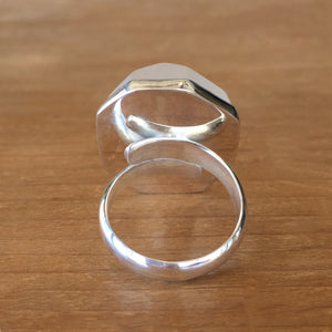 Frosted Quartz and Silver Ring