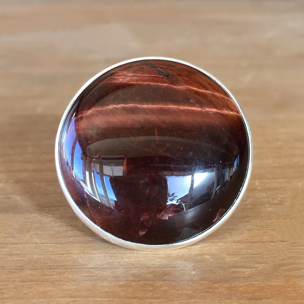 Red Tiger's Eye and Silver Ring