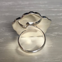Carved Mother of Pearl and Silver Ring