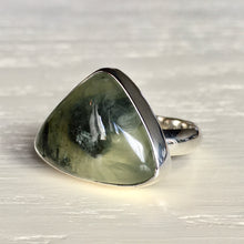 Prehnite and Silver Ring