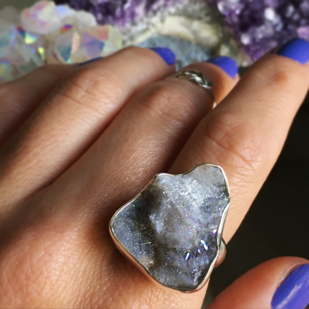 Aura Druzy and Silver Ring