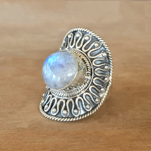 Rainbow Moonstone and Silver Ring