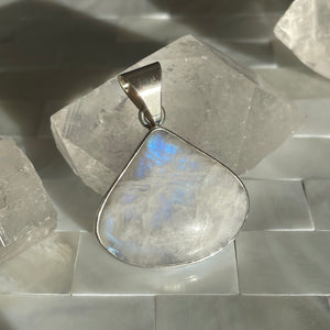 Blue Flash Moonstone and Silver Pendant