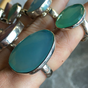 Chalcedony and Silver Rings