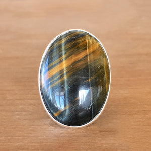 Blue Tiger Eye and Silver Ring